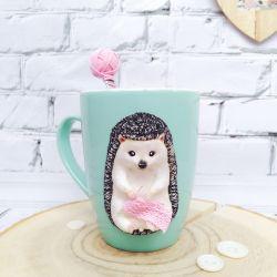 Mug with decor made of polymer clay. Hedgehog