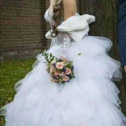 Wedding dress and gloves