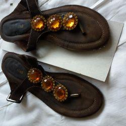 Papuci din piele naturală de căprioară