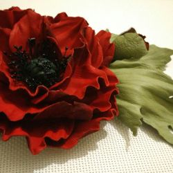 A flower made of leather.