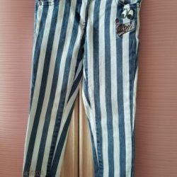 Çizgili çocuk kot pantolon