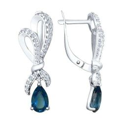 Earrings made of silver with blue topaz and cubic zirconia