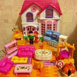 Дом игрушечный My happy family: мебель, семья