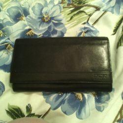 Leather purse, bu, black