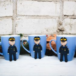 Decor mugs for employees of the Ministry of Emergencies. Polymer clay