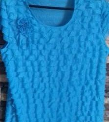 Blouse summer bright turquoise