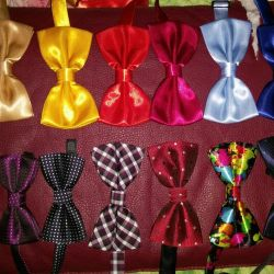 Bow ties with clasp.