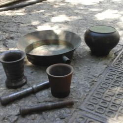 Copper basin, mortars and cast-iron
