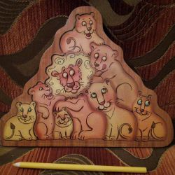 Lions Framed figures. Puzzle.