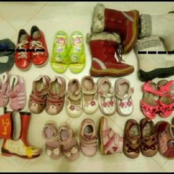 Large box with baby shoes
