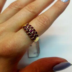 Кольцо с рубинами натуральными. Золото 750 пробы