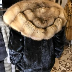 Mink coat with sable