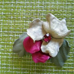 Brooch, hairpin made of natural leather