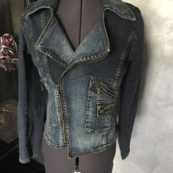 Denim jacket 44-46 r leather jacket, Italy
