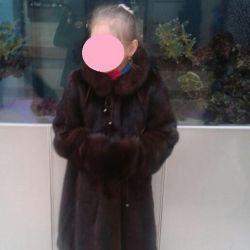 Шуба норковая с муфтой для девочки
