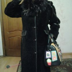 Fur coat from shorn muton, fox collar