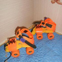 Four-wheel children's rollers.