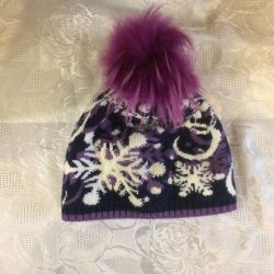 Winter hat with pompon for 6-8 years