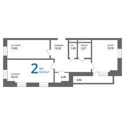 Квартира, 2 кімнати, 65 м²