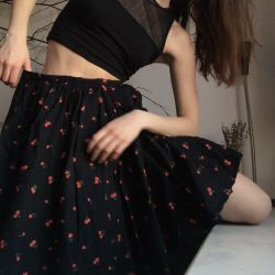 skirt with cherries black cotton