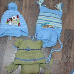 Caps with scarves for boys from 1.5 to 3 years