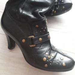 Boots d / s nat leather with rivets