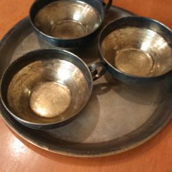 Cups with a tray of the USSR