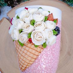 Mug with decor made of polymer clay. Roses