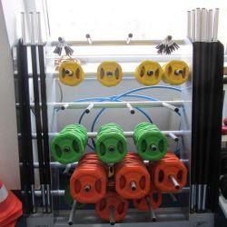 Reebok rack + 12 aerial bars of 20 kg. + 4 manual neck