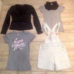 Silk blouse, t-shirts, sundress of jeans