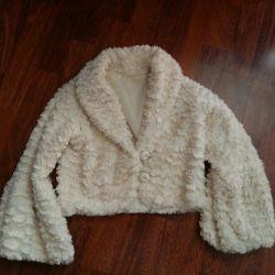 Kız için ceket, taklit kürk, 3-6 yıl