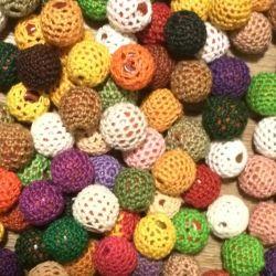 Вязанные бусины, цветы, Глазки ,бусины