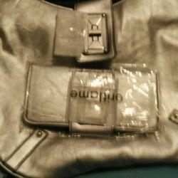 Cüzdanlı gri-gümüş çanta