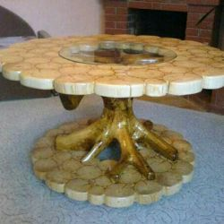 Table + glass, made of wood cuts.