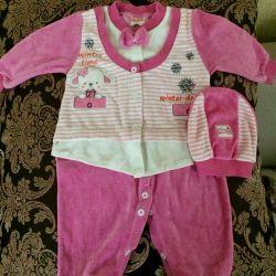 Children's velor jumpsuit (slip) warm