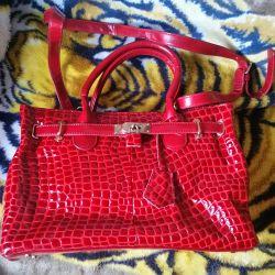 Κόκκινη δερμάτινη τσάντα