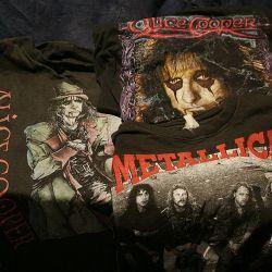 Rock gruplarının baskısı ile tişörtler (ikinci el)