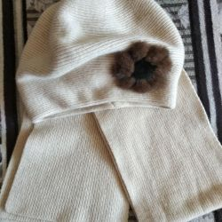 Hat with a scarf