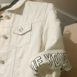 White jeans jacket with short sleeves new