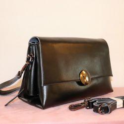 New black leather bag