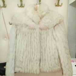 Fur coat from natural fur (arctic fox)