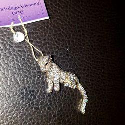 Кулон леопард. Серебро 925