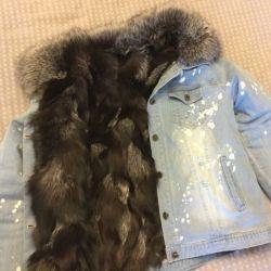 Doğal rakun kürklü denim ceket