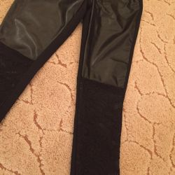 Leather leggings with lace