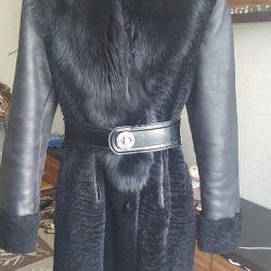 Chic παλτό από δέρμα προβάτου με ογκώδη παχιά γούνα