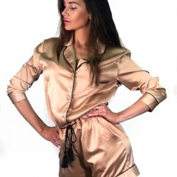 Silk jumpsuit in pajama style new