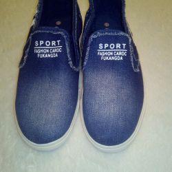 Denim New Womens Slip-on Sneakers