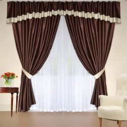 Set of curtains with a lambrequin Monica wenge