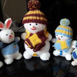 Handmade knitted toys