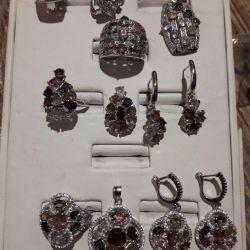 Комплект, цв турмалины, серебро